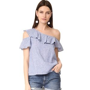 Madewell  One Shoulder Ruffle Top Brilliant Royal